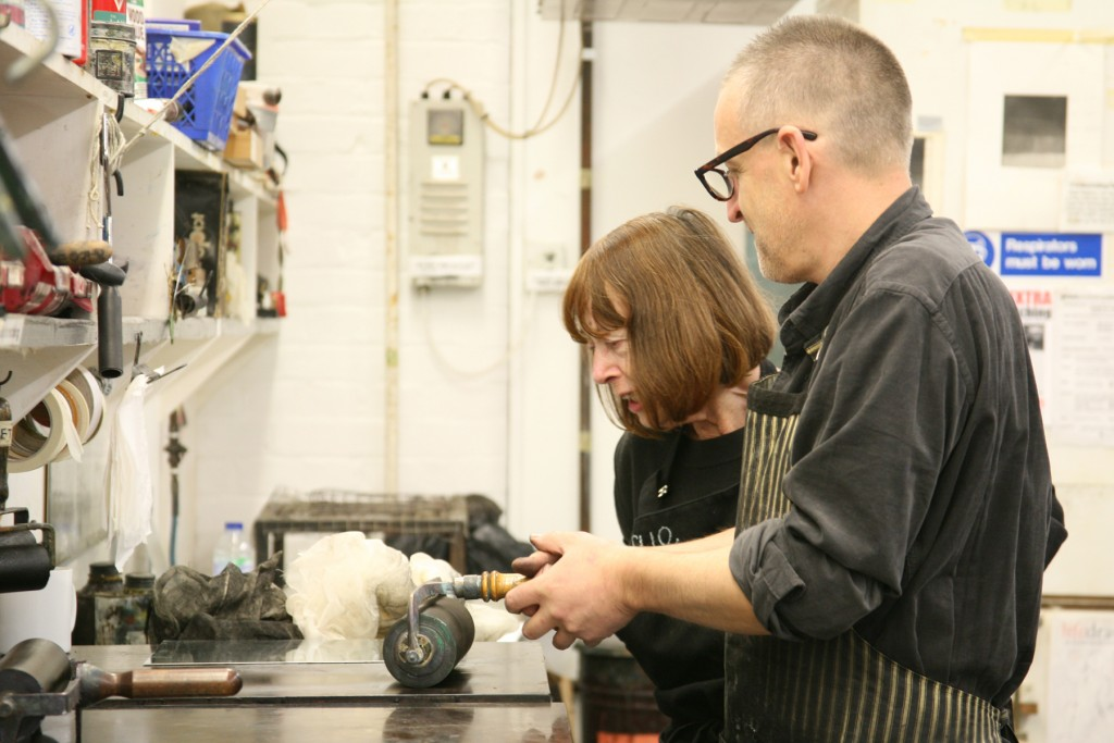 Colin Gale and Sue Molineaux in Gainsborough's House Print Workshop