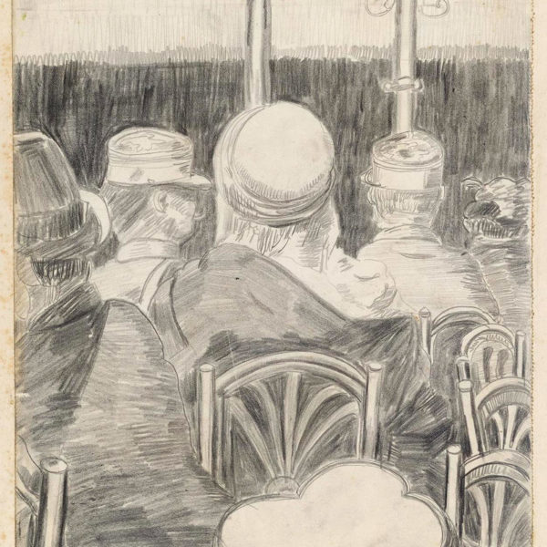 A sketch of the inside of busy cafe by Cedric Morris