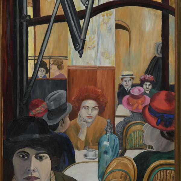 A painting of a busy Parisian cafe - Café Rotond by Cedric-Morris